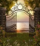 Beautiful Sea View through Gate stock illustration
