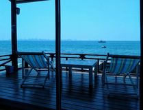 A beautiful sea view from inside the house near by the over sea at koh larn island,pattaya,chonburi,Thailand. royalty free stock images