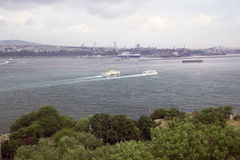Beautiful sea view in Istanbul. Stanbul city panoramic view, Turkey 20 march 2014 Royalty Free Stock Photo