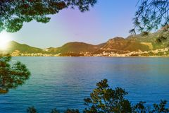 Beautiful sea view. The mountains descend into the sea. Blue sky and turquoise water. Adriatic Sea. Montenegro. Beautiful sea view. The mountains descend into royalty free stock photo