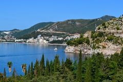 Beautiful sea view. The mountains descend into the sea. Adriatic Sea. Montenegro. Beautiful sea view. The mountains descend into the sea. Adriatic Sea royalty free stock images