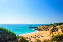 Beautiful sea view of sandy beach Pria do Castelo in Algarve Stock Images