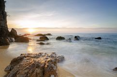 Beautiful sea view scenery over stunning sunrise background royalty free stock photos
