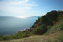 Beautiful sea view with sunrise from top of mountain, Chanthabur. I, Thailand Royalty Free Stock Image
