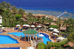 Beautiful sea view on tropical luxury resort hotel , Red Sea bea Stock Image