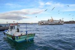 Beautiful sea views. Tourist ship away and a small fishing boat, seagulls, a beautiful landscape Stock Photography