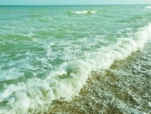 Beautiful sea wave on the beach vacation summer holiday relaxation. Beautiful sea wave on the beach summer holiday vacation royalty free stock images
