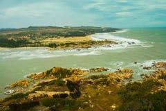 Beautiful sea with waves and mountains.Aerial view.Mui Ne, Phan Thiet, Vietnam. stock image
