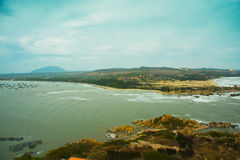 Beautiful sea with waves and mountains.Aerial view.Mui Ne, Phan Thiet, Vietnam. stock photos