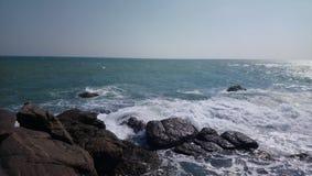 Beautiful sea waves ,rocks at kanyakumari .india. Beautiful sea waves ,rocksat kanyakumari india.beautiful rocks ,rushing waves stock images