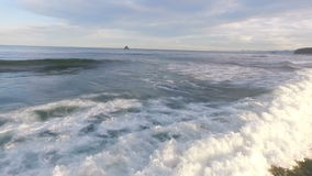 Beautiful sea waves at sunset. Rotate camera. Panorama. stock video footage