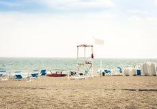 Beautiful seacoast beach Lido azzurro before thunderstorm in Catania, Sicily, Italy.  royalty free stock photos
