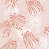 Beautiful seamless abstract floral summer pattern background with tropical palm orange leaves. Perfect for wallpapers, web page backgrounds, surface textures vector illustration