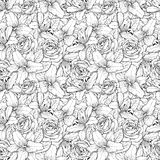 Beautiful seamless background with black and white lily and roses . Hand-drawn contour lines and strokes. Royalty Free Stock Images