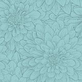 Beautiful seamless background with blue flowers. Hand-drawn contour lines and strokes stock illustration