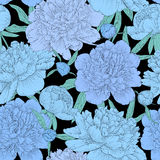 Beautiful seamless background. blue peonies with green leaves and buds. Royalty Free Stock Images