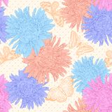 Beautiful seamless background with bouquet flowers. Royalty Free Stock Images