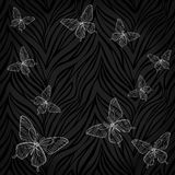Beautiful seamless background. butterflies on animal zebra abstract print. Stock Photography