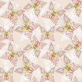 Beautiful seamless background of butterflies beige pastel  color Royalty Free Stock Photography