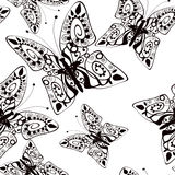 Beautiful seamless background of butterflies black and white Stock Photography