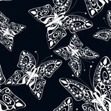 Beautiful seamless background of butterflies black and white Stock Images