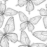 Beautiful seamless background of butterflies black and white colors. Hand-drawn contour lines and strokes. Royalty Free Stock Photo