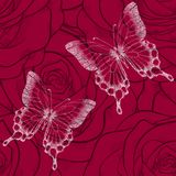 Beautiful seamless background with butterflies and flowers roses. Hand-drawn contour lines and strokes. Perfect for background gre Stock Images