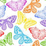 Beautiful seamless background of butterflies multi colored on a white. Stock Images