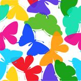 Beautiful seamless background of butterflies multi colored on a white. Royalty Free Stock Photo