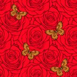 Beautiful seamless background with butterflies and roses. Stock Image