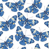 Beautiful seamless background of butterflies, vector illustratio Royalty Free Stock Photo