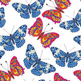 Beautiful seamless background of butterflies, vector illustratio Royalty Free Stock Images