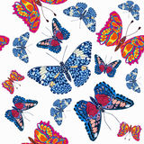 Beautiful seamless background of butterflies, vector illustratio Stock Images