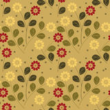 Beautiful seamless background with colorful sunflowers and leaves. Summer seamless pattern with sunflowers and leaves for your creative ideas/ Vector image Stock Photography
