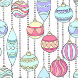Beautiful seamless background with hanging Christmas decorations and balls Royalty Free Stock Photos