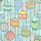 Beautiful seamless background with hanging Christmas decorations and balls. For greeting card and invitation of the merry christmas and happy new year Royalty Free Illustration