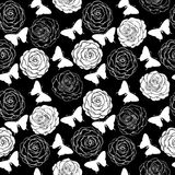 Beautiful seamless background with monochrome black and white butterflies and roses. Stock Photo