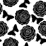 Beautiful seamless background with monochrome black and white butterflies and roses. Stock Photography