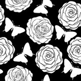 Beautiful seamless background with monochrome black and white butterflies and roses. Royalty Free Stock Photo