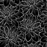 Beautiful seamless background with monochrome black and white flowers Stock Photo