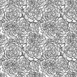 Beautiful seamless background with monochrome black and white flowers. Hand-drawn contour lines and strokes. Stock Photography