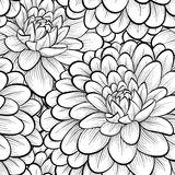 Beautiful seamless background with monochrome black and white flowers. Royalty Free Stock Images