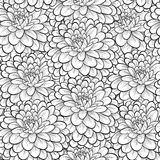 Beautiful seamless background with monochrome black and white flowers. Stock Photo