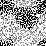 Beautiful seamless background with monochrome black and white flowers. Stock Image