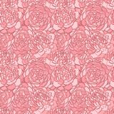 Beautiful seamless background with pink flowers. Hand-drawn contour lines and strokes. Stock Images