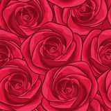 Beautiful seamless background with red roses. Stock Photo