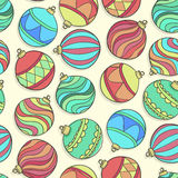 Beautiful seamless background with scattered Christmas decorations and balls. Stock Photo