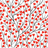 Beautiful seamless background with tree branches and leaf heart. Royalty Free Stock Photo