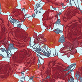 Beautiful Seamless Background with Victorian Roses Royalty Free Stock Photo