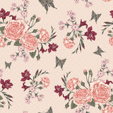Beautiful Seamless Background with Victorian Roses Stock Photos